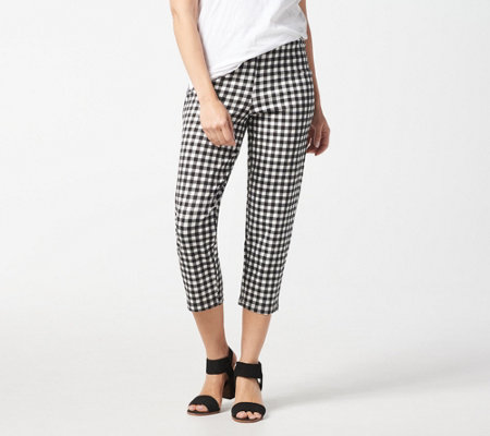 Joan Rivers Petite Gingham Print Signature Pull-On Crop Pants