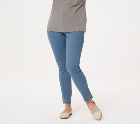 Martha Stewart Petite Colored Denim Jeans with Ankle Snaps