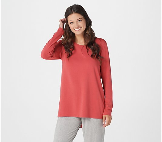 AnyBody Cozy Knit Split Back Long Sleeve Top