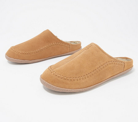 Clarks Suede Men's Faux Fur Lined Clog Slippers