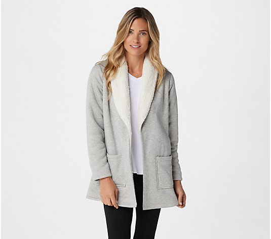 Denim & Co. Active Jersey Bonded w/ Sherpa Open Front Cardigan