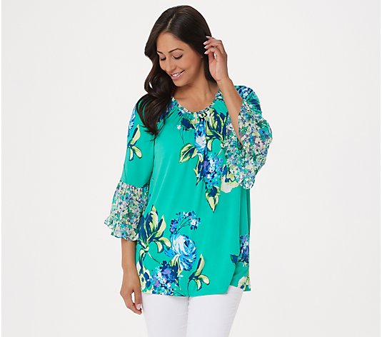 """As Is"" Susan Graver Printed Liquid Knit Tunic with Chiffon Ruffles"