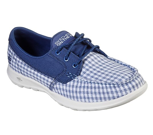Skechers GOwalk Lite Plaid Printed Boat Shoes - By the Sea