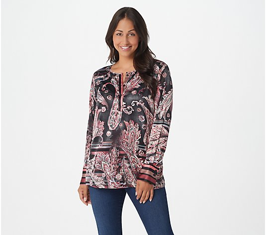 """As Is"" Belle by Kim Gravel Painted Paisley Blouse"