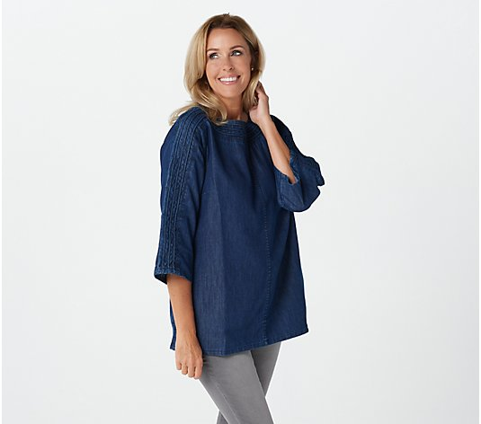 """As Is"" Martha Stewart Denim Trapunto 3/4-Sleeve Tunic"