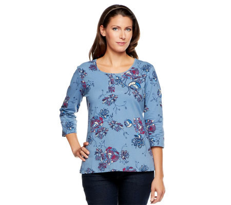 Denim & Co. Perfect Jersey 3/4 Sleeve Button Placket Floral T-shirt