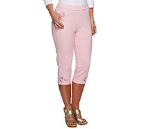 Quacker Factory DreamJeannes Open Bloom Cut-Out Capri Pants - A251792