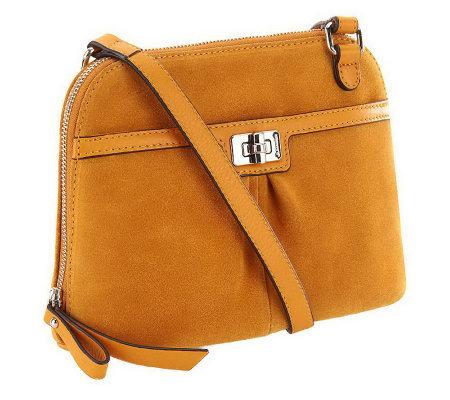 As Is B Makowsky Suede Top Zip Crossbody Bag W Hardware