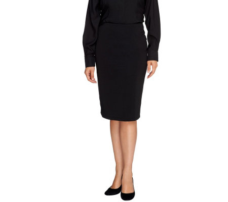Susan Graver Milano Knit Pull-On Slim Skirt - Petite