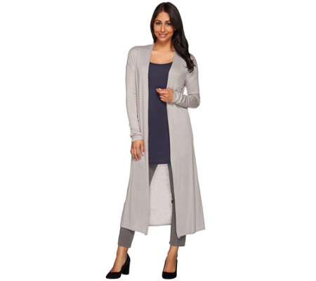H by Halston Petite Open Front Long Sleeve Maxi Cardigan