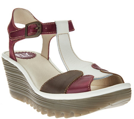 FLY London Leather Adj. T-Strap Wedge Sandals - Yila
