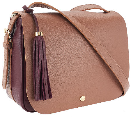 """As Is"" Isaac Mizrahi Live! Nolita Pebble Leather Saddle Bag"