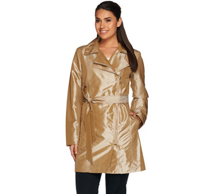 Dennis Basso Water Resistant Metallic Trench with Shirred Seaming Detail