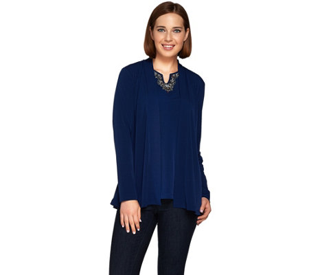 Susan Graver Artisan Liquid Knit Long Sleeve Cardigan Set