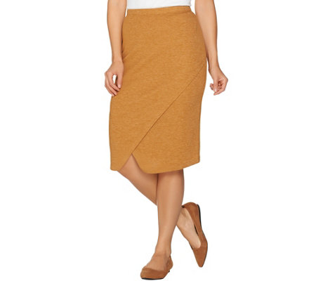 LOGO by Lori Goldstein Waffle Knit Skirt with Crossover Panel