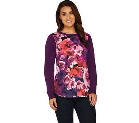 Isaac Mizrahi Live! Photoreal Floral Printed Woven Front Sweater