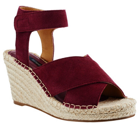 """As Is"" Kensie Espadrille Wedges w/Adj. Ankle Strap - Narcisa"