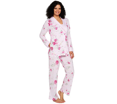 Carole Hochman Blooming Meadow Ultra Jersey 3-Piece Pajama Set