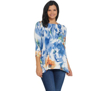 Belle by Kim Gravel 3/4 Sleeve Watercolor Printed Top - A301592