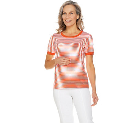 """As Is"" Susan Graver Weekend Striped Stretch Cotton Modal Top"