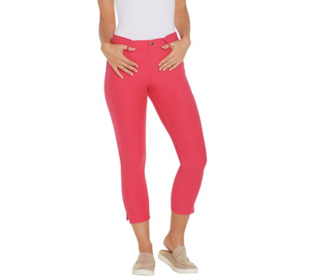 HUE Ankle Slit Essential Denim Capri Leggings