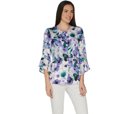Studio by Denim & Co. Floral Button Front Bell Sleeve Top
