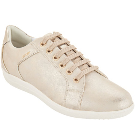 GEOX Peforated Leather Lace-Up Sneakers - Nihal