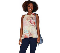 Vince Camuto Faded Blooms Woven Sleeveless Blouse - A306692