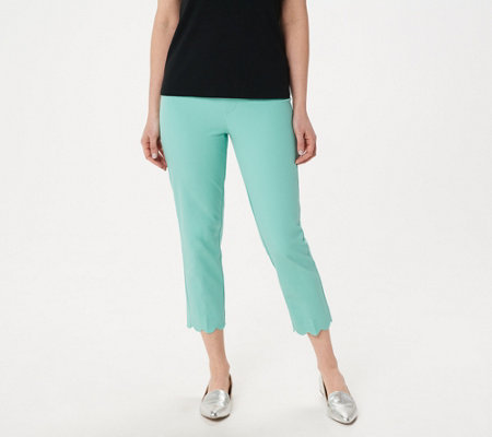 Isaac Mizrahi Live! Regular 24/7 Stretch Crop Pants w/ Scallop Hem