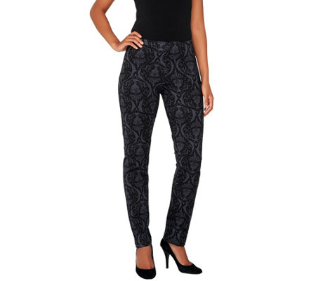 """As Is"" Women with Control Regular Brocade Print Slim Leg Pants"