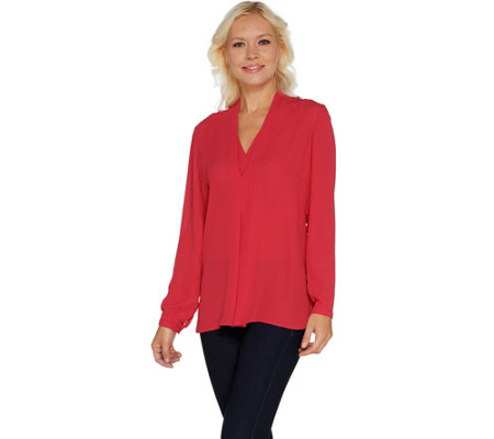 """As Is"" Laurie Felt Layered V-Neck Long Sleeve Blouse"