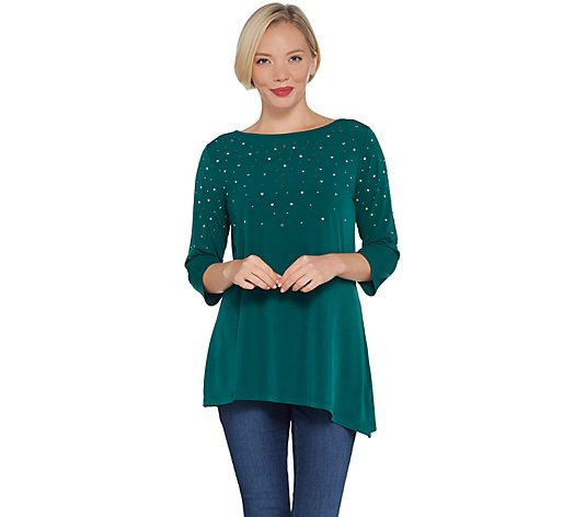 Quacker Factory 3/4-Sleeve Asymmetric Hem Knit Top with Rhinestones