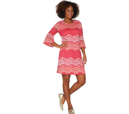 """As Is"" Isaac Mizrahi Live! Striped Lace Bell Sleeve Dress"
