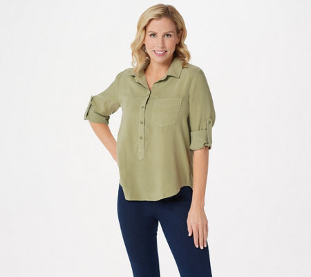 Side Stitch Tencera Curved Hem Top with Roll-Tab Sleeve