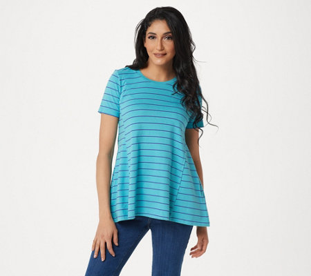 LOGO by Lori Goldstein Washed Striped Knit Top with Swing Hem