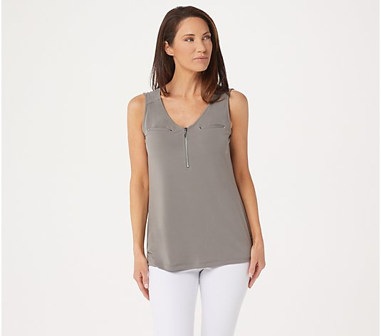 Susan Graver Liquid Knit Sleeveless Half Zip Top