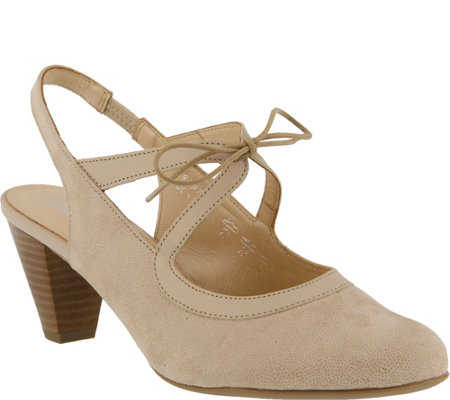 Spring Step Suede and Leather Lace-up Pumps - Finesse