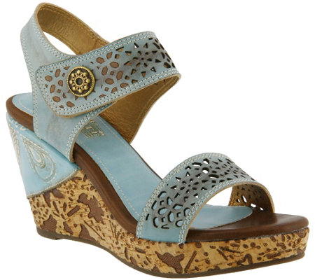 Spring Step L'Artiste Leather Wedge Sandals - Allura