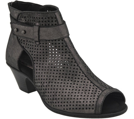 Earth Suede Perforated Peep Toe Booties  - Intrepid