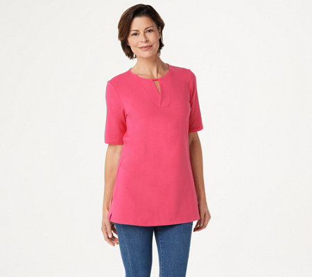 Denim & Co. Essentials Regular Perfect Jersey V-Neck Top