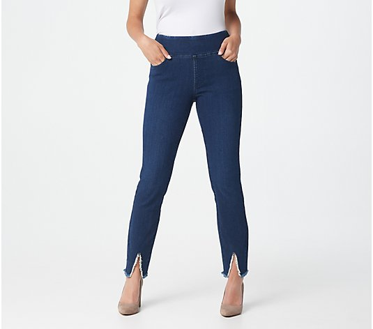 """As Is"" Belle by Kimd Gravel TripleLuxe Denim Front Slit Jeggings"