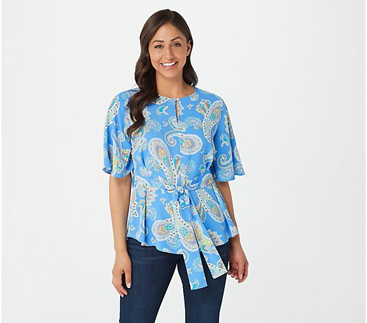 Susan Graver Printed Stretch Woven Tie-Front Flutter-Sleeve Top