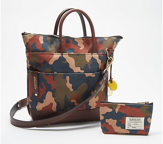 R.Riveter Carry All Canvas Tote w/ Leather Trim & Pouch - Otto