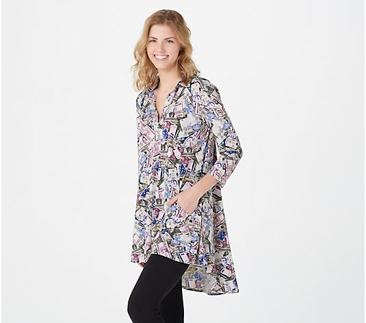 """As Is"" Attitudes by Renee Como Jersey Printed Collared Tunic"