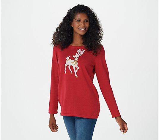 Quacker Factory Holiday Motif Sequin Long-Sleeve Sweater