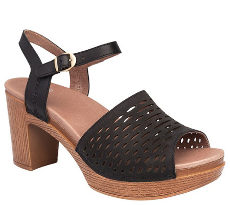 Dansko Open-Toe Block Heeled Leather Sandals -Denita