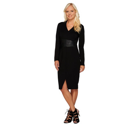 H by Halston Ponte Dress with Leather Wrap Waist Detail