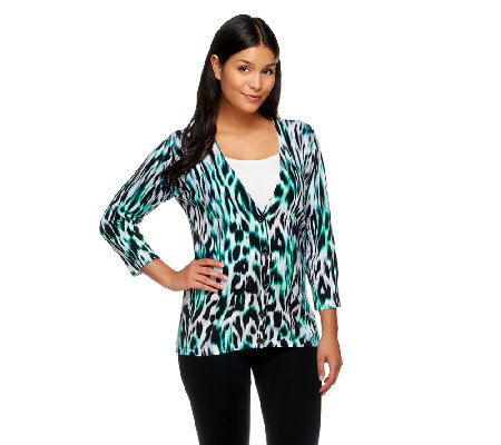 Linea by Louis Dell'Olio Animal Print Jersey Knit Cardigan