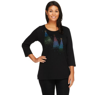 Quacker Factory Ombre Sparkle Trees 3 4 Sleeve T Shirt