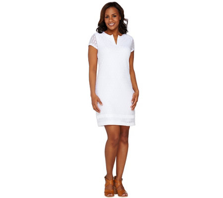 Isaac Mizrahi Live! Short Sleeve Stretch Lace Dress